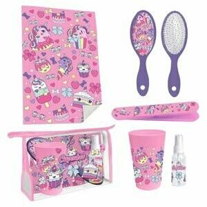 Cupcake trousse de toilette avec  brosse, lavette, gobelet, etc. licorne