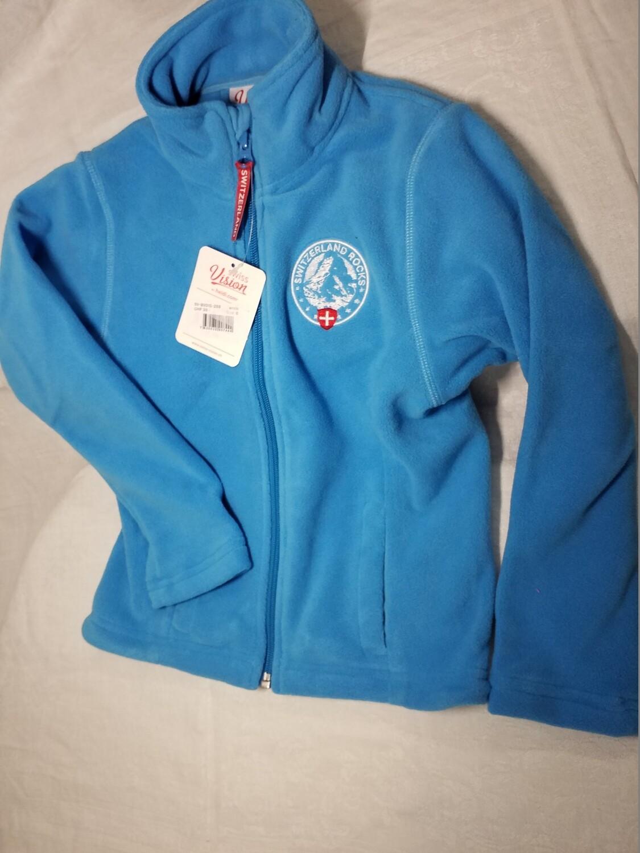 Jaquette polaire bleu turquoise avec logo Switzerland Rocks