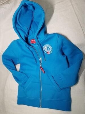 Jaquette bleu turquoise avec capuche et logo Switzerland Rocks