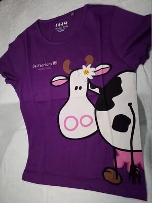 Tee shirt violet imprimé vache Mumu Cow Switzerland
