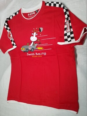 Tee shirt rouge imprimé vache  Mumu Cow  dans voiture Swiss Racing