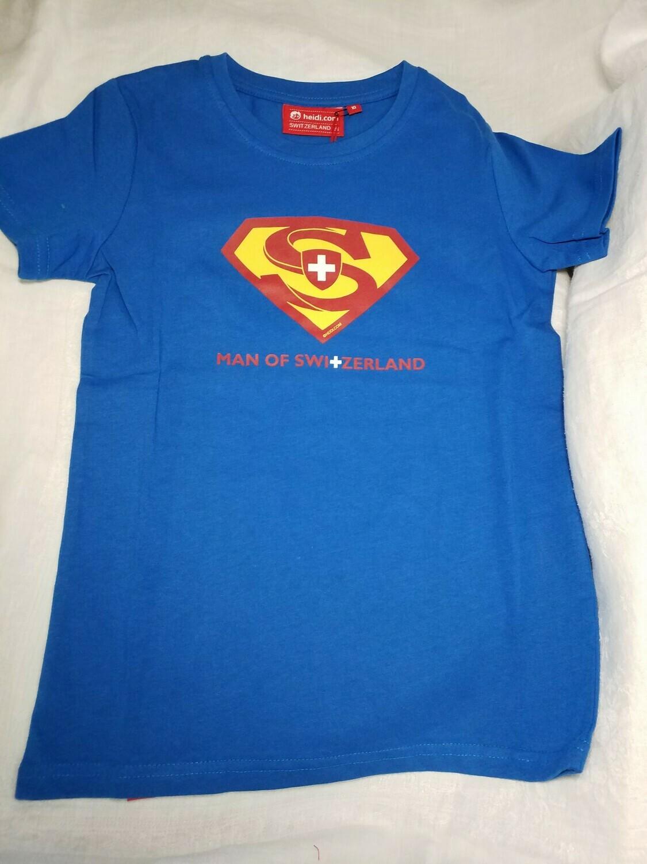 Tee shirt bleu avec logo Superman et croix Suisse Man of Switzerland