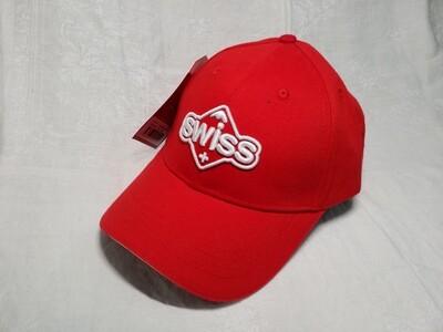 Casquette rouge avec logo Swiss style Sugus vintage