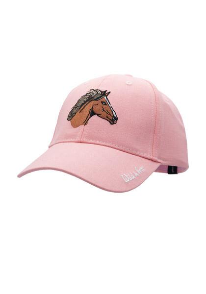 Casquette rose imprimé tête de cheval brun