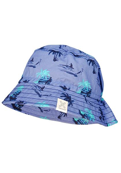 Chapeau bleu imprimé palmier surf