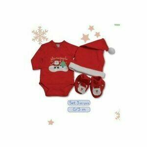 Set cadeau de Noël bébé avec un body, des chaussons et un bonnet