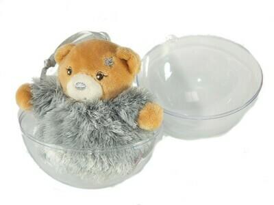 Ours gris dans une boule de Noël à suspendre