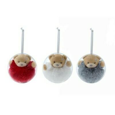 Ours blanc dans une boule de Noël à suspendre