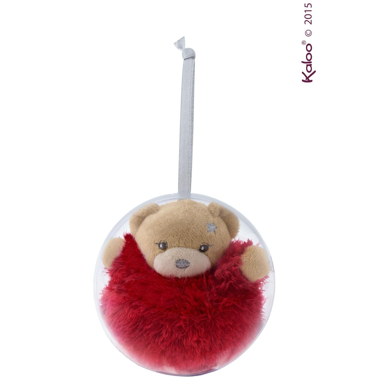 Ours rouge dans une boule de Noël à suspendre