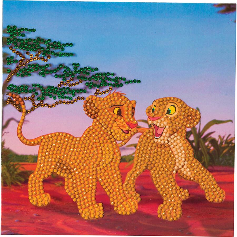 Crystal Art Simba et Nala carte 18x18 cm Roi lion Disney