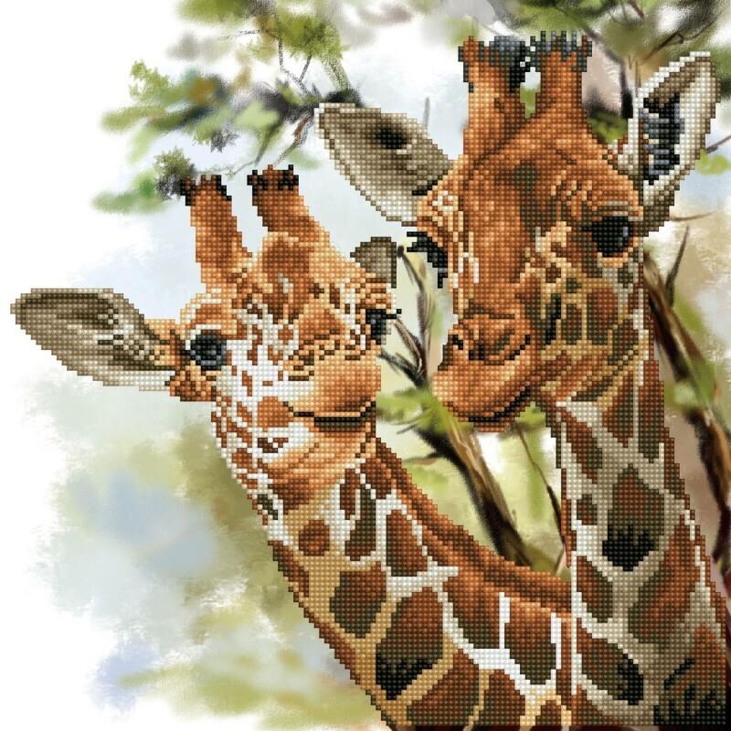 Kit d'art Broderie Diamant Tall & Tender girafes