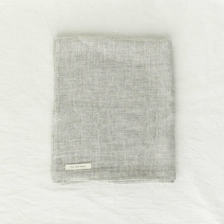 Fig and Honey Belgian Linen Hand Towel - Storm