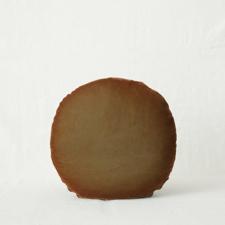 Fig and Honey Silk Velvet Cushion - Round - Earth