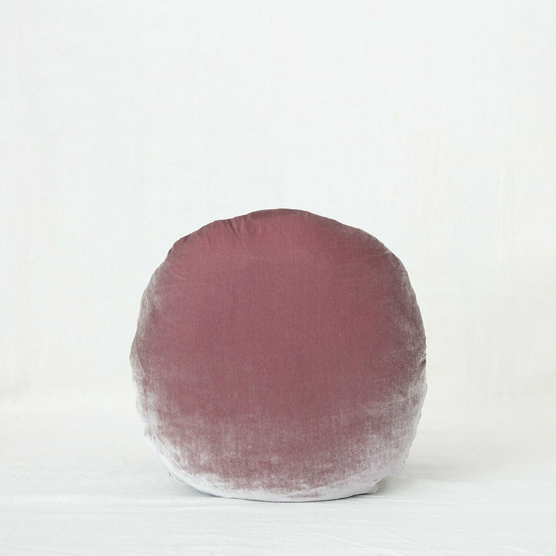 Fig and Honey Silk Velvet Cushion - Round - Dusk