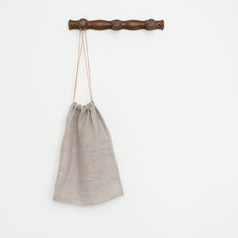 Fig and Honey Belgian Linen Drawstring Bag