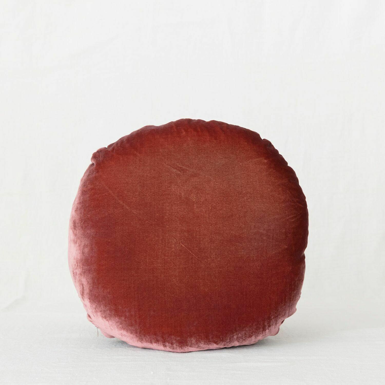 fig and honey Silk Velvet round cushion - Fig