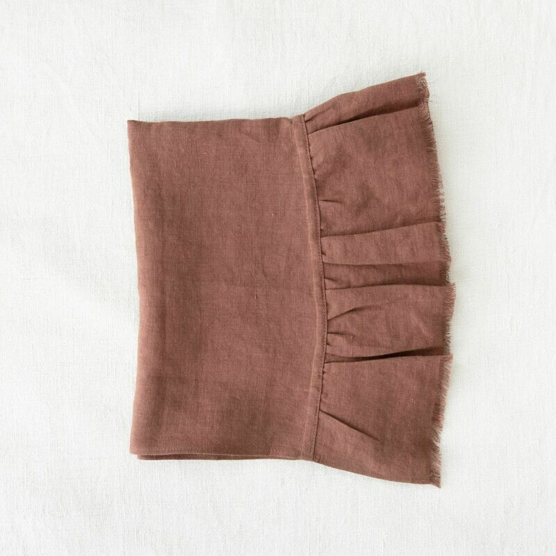 Linen Hand Towel with Raw frill edge - spiced fig