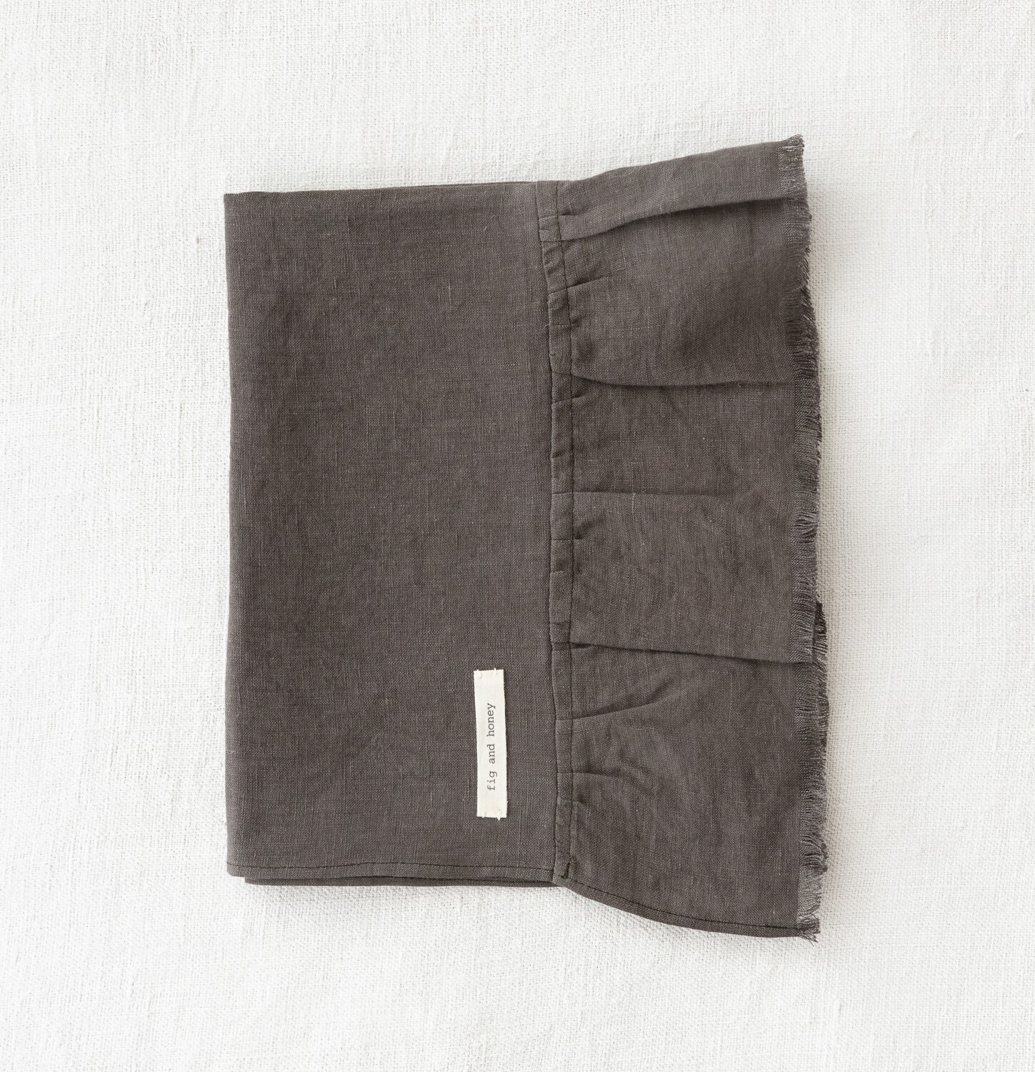 Linen Hand Towel with Raw frill edge - Forest