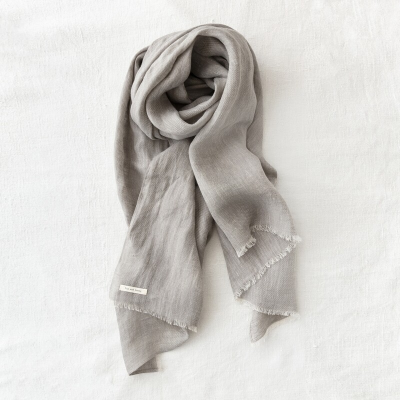 fig and honey - Mist Belgian linen scarf