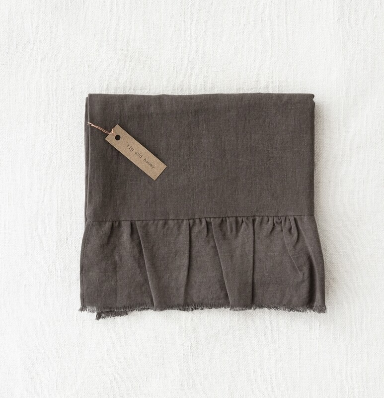 Linen pillow slip with raw frill edge, Forest