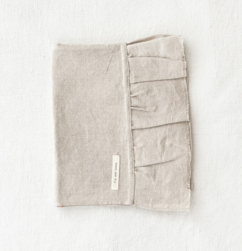 Linen Hand Towel with Raw frill edge - Natural