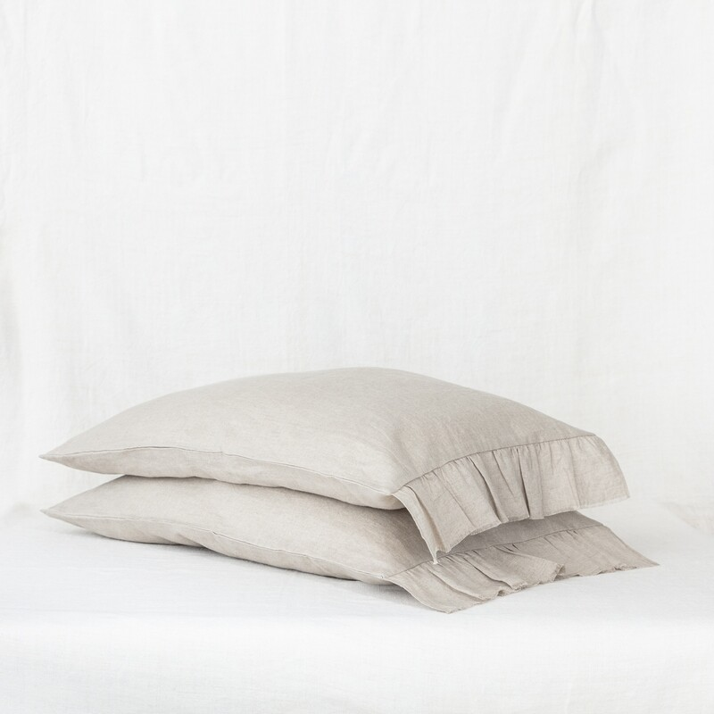 Linen pillow slip with raw frill edge, Natural