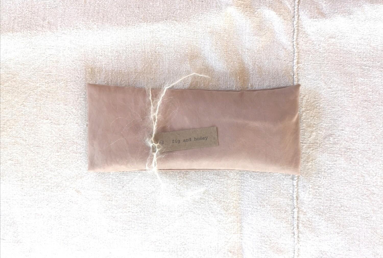 botanically dyed silk eye pillow, vintage rose