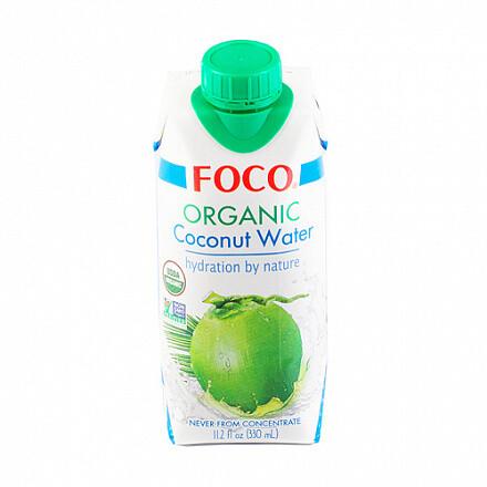 Кокосовая вода 100% органическая, без сахара FOCO, 330 мл.