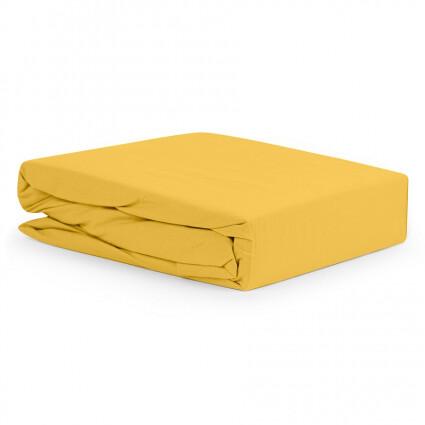 Простыня горчичного цвета из органического стираного хлопка из коллекции Essential, 180х270 см