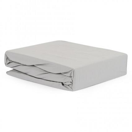 Простыня серого цвета из органического стираного хлопка из коллекции Essential, 180х270 см
