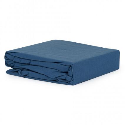 Простыня темно-синего  цвета из органического стираного хлопка из коллекции Essential, 240х270 см