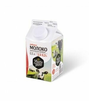 Молоко цельное 500 мл мдж 3,5% -5,2% «Углече Поле»