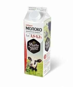 Молоко цельное мдж 3,5% -5,2% «Углече Поле», 1л