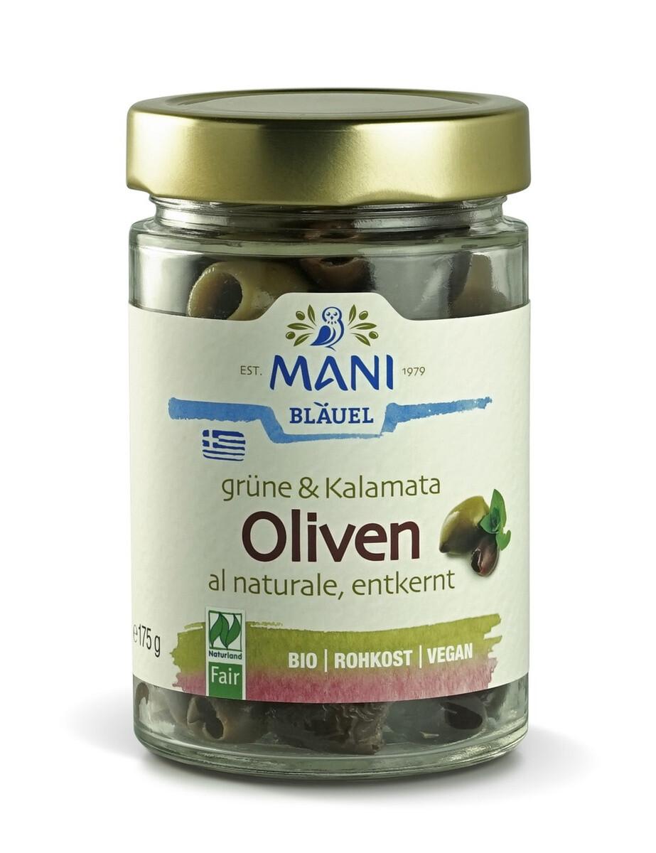 MANI Оливки Каламата & зеленые оливки al naturale, без косточки, банка 175г