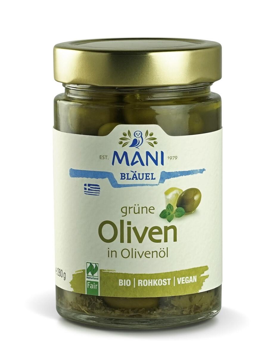 MANI Оливки зеленые в оливковом масле Extra Virgin, organic, банка 280г