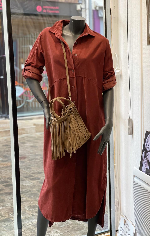 Robe longue en velours ras kelly