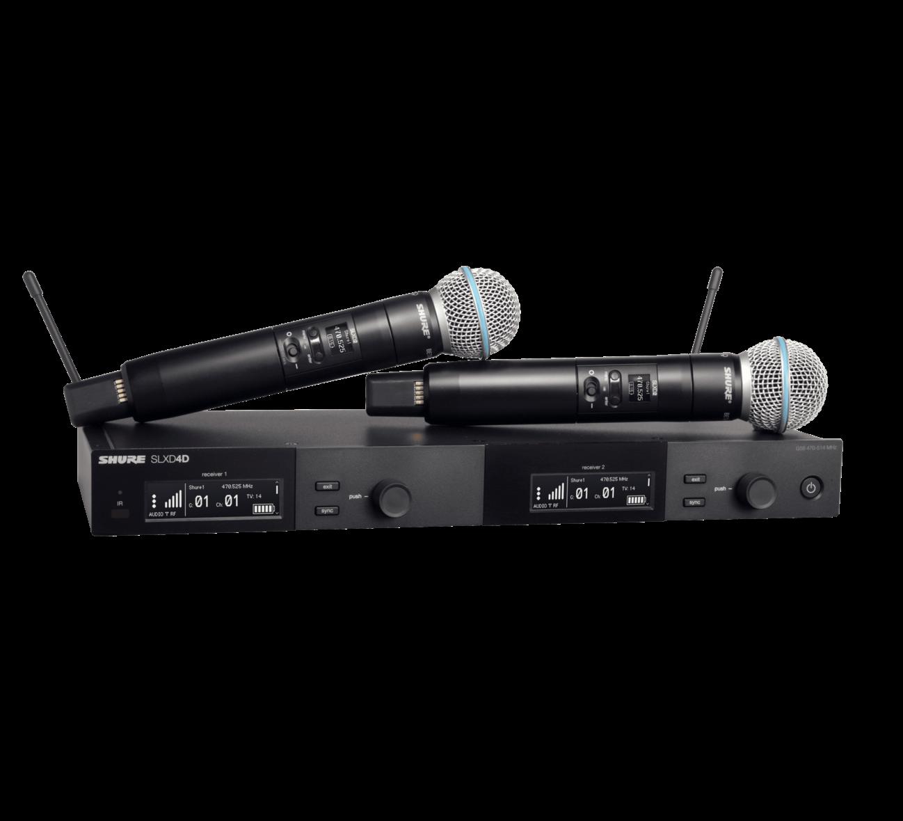 Shure SLXD24D/B58 Dual Wireless System with 2 SLXD2/B58 Handheld Transmitters