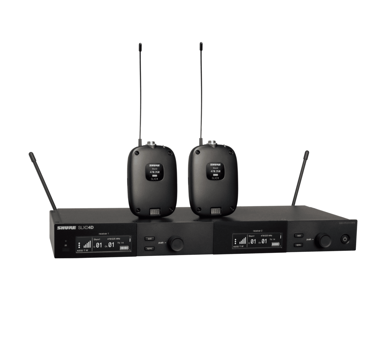Shure SLXD14D (Dual Wireless System with two SLXD1 Bodypack Transmitters)