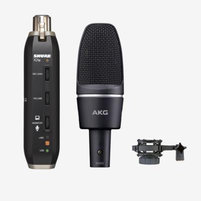 4月限定【X2U + C3000套裝】: Shure X2U 輕便電腦錄音界面 + AKG C3000 咪高峰套裝
