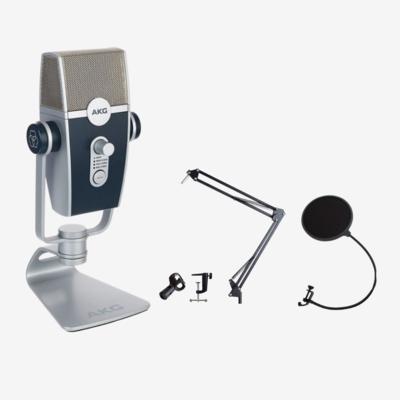 4月限定【Lyra + 夾台咪架 + 防噴擋】: AKG LYRA USB Mic + T35 夾台咪架 + 防噴擋