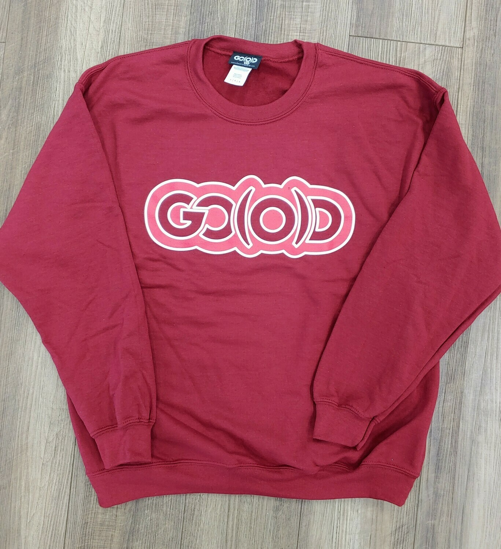 GO(O)D Crewneck Sweatshirt-garnet/bright garnet/white trim