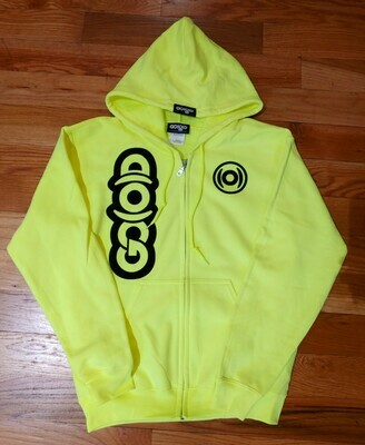 GO(O)D Dual Logo Zip Up Jacket-neon green/black *Made To Order*