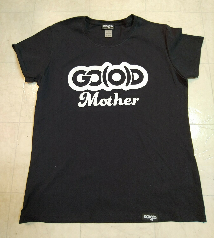 GO(O)D Mother tee-black/white glitter logo