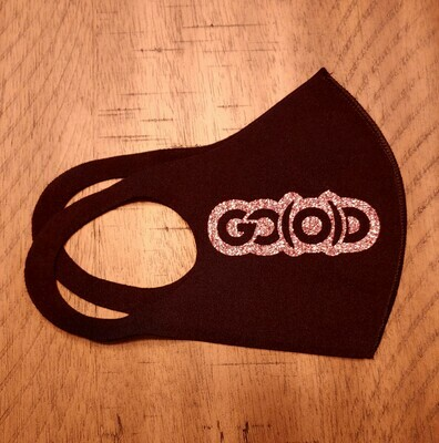 Dual Logo Mask-black/rose gold glitter