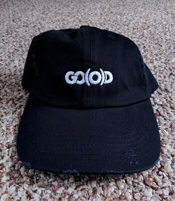 GO(O)D Distressed Dad Hat-black/white