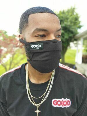 GO(O)D Pleated Face Mask/Tag logo-black