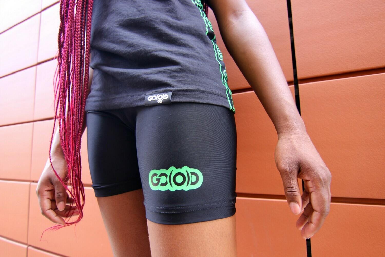 GO(O)D Biker Shorts-black/green (jr fitted)