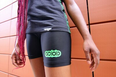 GO(O)D Biker Shorts-black/green (jr fitted)