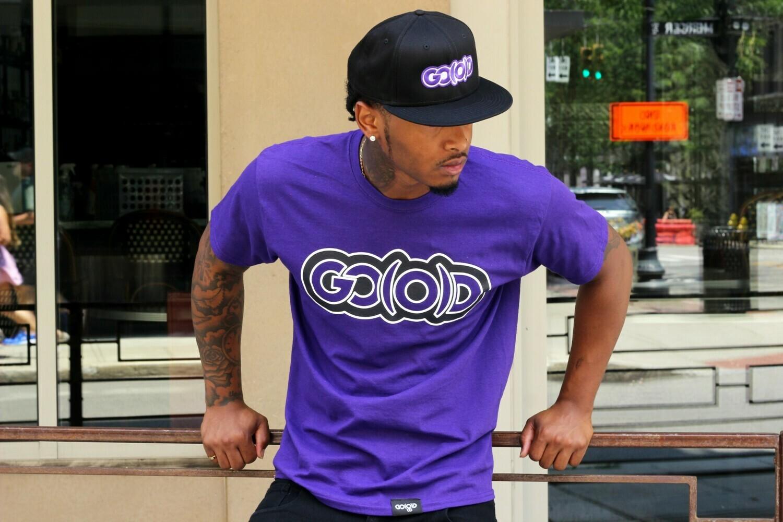 GO(O)D Classic Outline Tee-purple/black/white trim