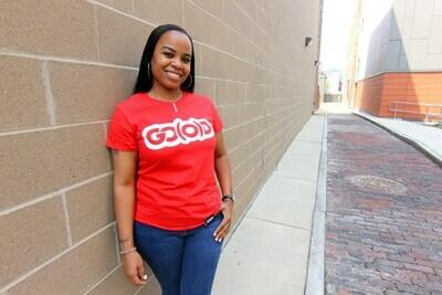 Women's GO(O)D Classic tee-red/white glitter logo